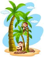 Wachstumstabelle Machthaber mit zwei Affen auf Baum vektor