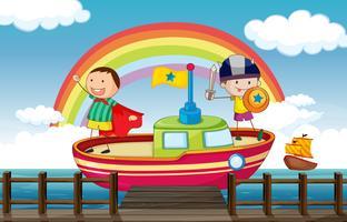 Kinder spielen im Schiff vektor