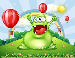 Ein sehr glückliches Monster auf dem Hügel