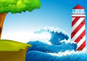 Starke Wellen in der Nähe des Leuchtturms