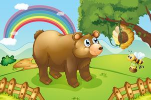 En hungrig björn tittar på bikupan vektor