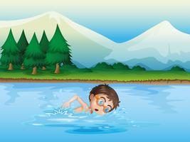 En pojke som simmar vid floden vektor