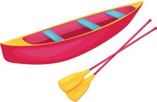Rotes und gelbes Kanu