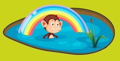 Affe in einem Bad vektor