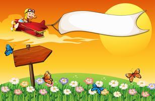Ein Affe im Flugzeug und die Schmetterlinge im Garten vektor
