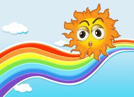 En himmel med en sol och en regnbåge vektor