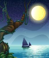 Ein Boot, das mitten in der Nacht segelt vektor