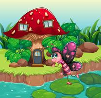 Ein Schmetterling, der nahe dem roten Pilzhaus wellenartig bewegt vektor