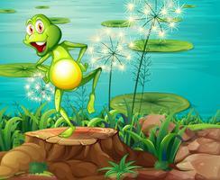 Ein Frosch über dem Baumstumpf am Flussufer