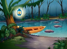 Ein Kanu in einem geheimnisvollen Wald vektor