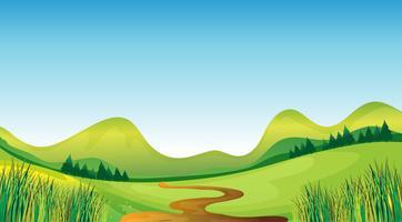 En slingrande väg och berg vektor