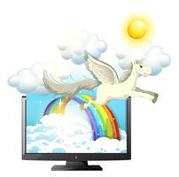 Pegasus flyger i den blå himlen