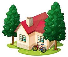 Szene mit Einfamilienhaus auf dem Rasen vektor