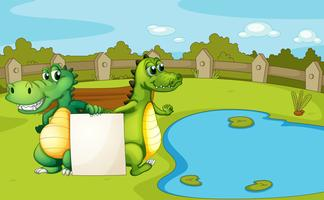 Krokodile, die eine leere Fahne halten vektor
