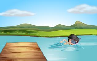 En ung simmare övar vektor