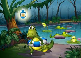 Alligatorer vid dammen i skogen
