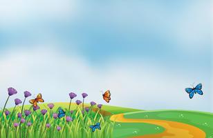 Violetta blommor längs vägen