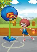 En pojke som spelar basket vektor