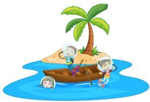 Ein Junge und ein Mädchen fahren mit dem Boot