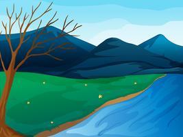 En flod och berg vektor