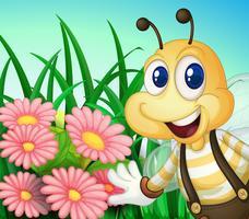 Eine glückliche Biene im Garten