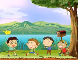 Eine Gruppe von Jungen in der Nähe des Briefkastens vektor