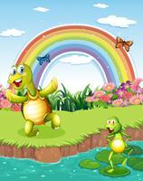 Eine Schildkröte und ein Frosch, die am Teich mit einem Regenbogen oben spielen