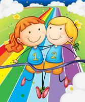 Zwei Mädchen laufen am Feld vektor