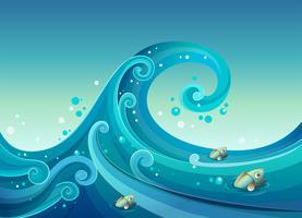 Eine große Welle im Meer mit Fischen