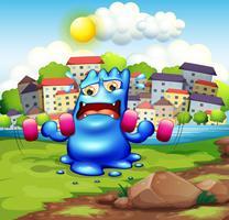 Ein müdes Monster, das in der Stadt trainiert vektor