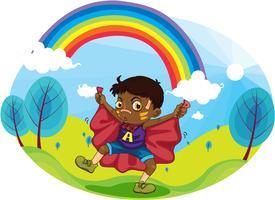 Junge und Regenbogen