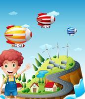 Luftschiffe im Dorf