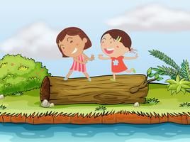 Barn och en logg vektor