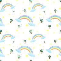 En sömlös design med regnbågar och flytande ballonger