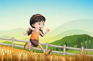 En tjej som kör på gården