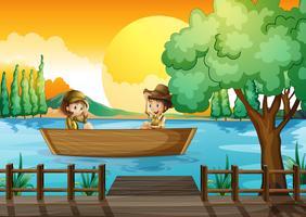 En pojke och en flicka på båten vektor
