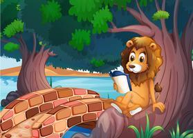 Ein Löwe liest ein Buch über der Wurzel eines großen Baumes