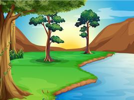 Ein Fluss am Wald vektor