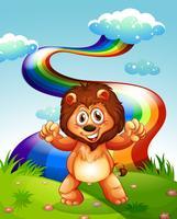 Ein glücklicher Löwe auf dem Gipfel mit einem Regenbogen im Himmel