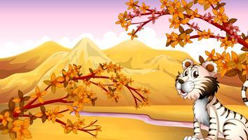 En tiger vid floden vektor