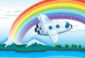 Ein Düsenflugzeug in der Nähe des Regenbogens vektor