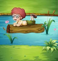 Ein Baumstamm, der mit einem Jungen schwimmt vektor