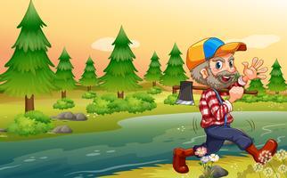 Ein Holzfäller, der beim Gehen eine Axt trägt