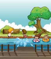 Barn har roligt på floden vektor