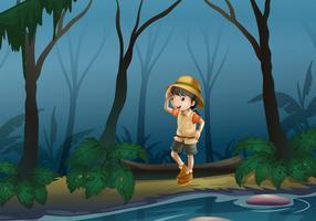 En tjej mitt i skogen nära floden vektor