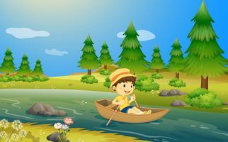 En pojke som kör en båt