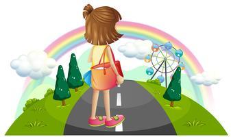 Ein junges Mädchen, das mitten auf der Straße steht vektor
