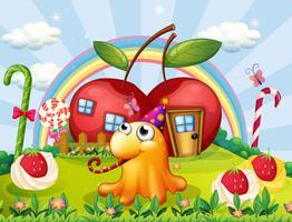 En kulle med gigantiska lollipops och ett monster med en hatt vektor