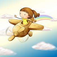 Flugzeug und Mädchen vektor