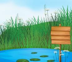 Ein Teich mit einem leeren Schild vektor